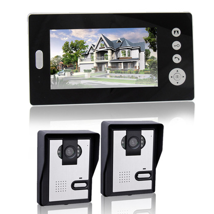"""VD-WJ711C0-2V1 2.4GHz ,Wireless 7.0"""" TFT Monitor 300KP Video Door Phone, with 6-IR LED Night Vision,2 outdoor camera."""