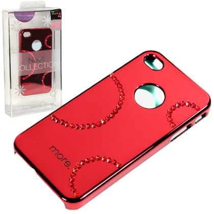 Noble Mirror Surface Rhinestone Electroplating Hard Case for iPhone 4