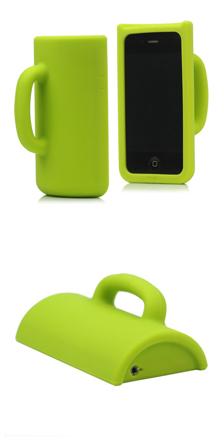 Hot Self-standing Cup Silicone Case Cover for iPhone 4 4S - Green