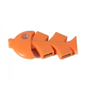 Bony Fish shape Hi-Speed USB 2.0 4 ports Hub (Orange, Retail Box)