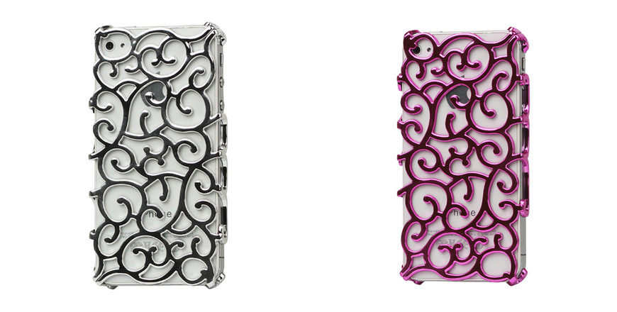 Luxury Electroplating Hollow Pattern PC Hard Case for iPhone 4 4S - Rose
