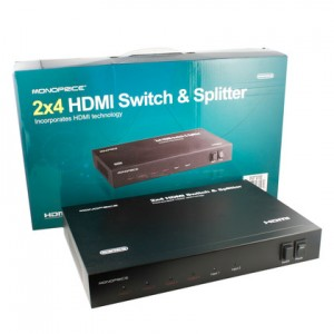 2x4 Matrix HDMI® Switch & Splitter