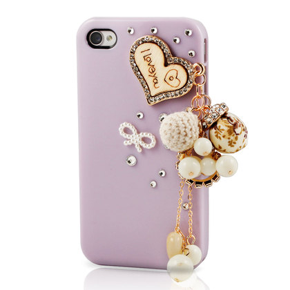 Purple Hard Case with Heart Chain for iPhone 4 / 4S