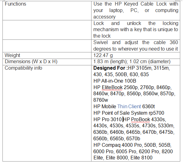 HP Keyed Cable Lock