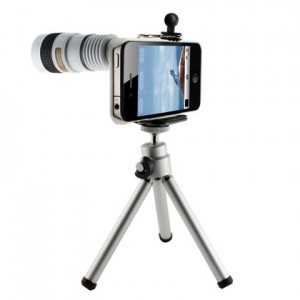 8x Zoom Telescope Camera Lens Kit inclue Tripod & Case for iPhone 4 4S, white