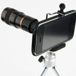8x Zoom Telescope Camera Lens Kit inclue Tripod & Case for iPhone 4 4S, black
