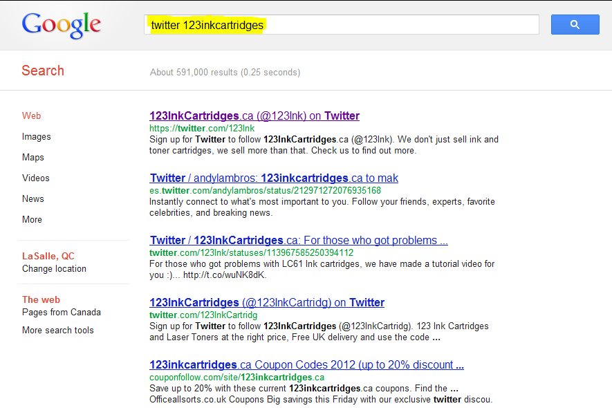 how to find 123inkcartridges twitter