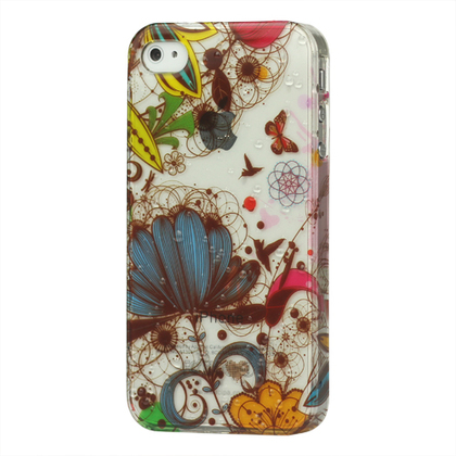 Butterfly Flora Raindrop Hard Cover for iPhone 4 4S