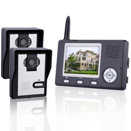 """VD-WJ351C0-2V1 2.4GHz ,Wireless 3.5"""" TFT Monitor 300KP Video Door Phone, with 6-IR LED Night Vision,2 outdoor camera."""