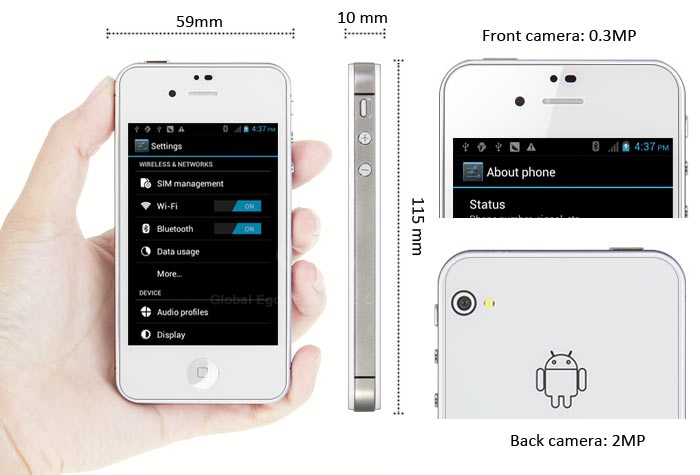 CP-W007 white-Android4.0, 3.5inch Capacitive Touch Screen Cell Phone