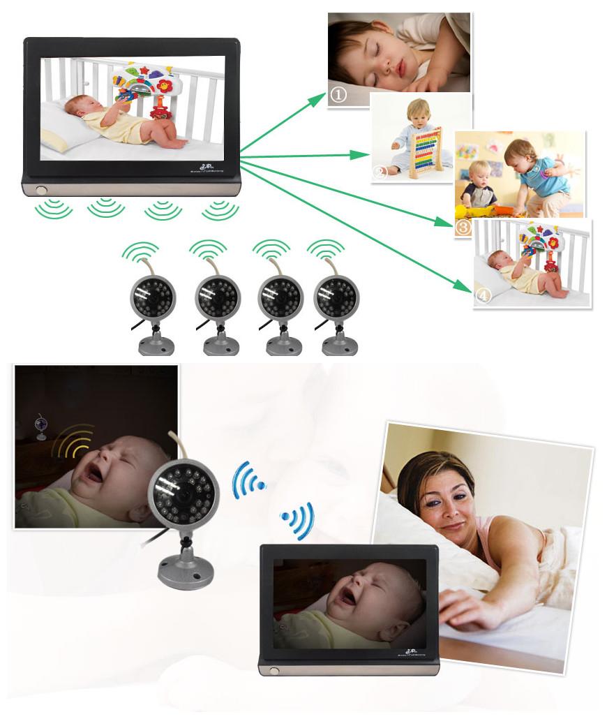 "BM-860706F 7"" LCD Digital Wireless Baby Monitor ,2.4GHz ,with 4 Night Vision Surveillance Camera"