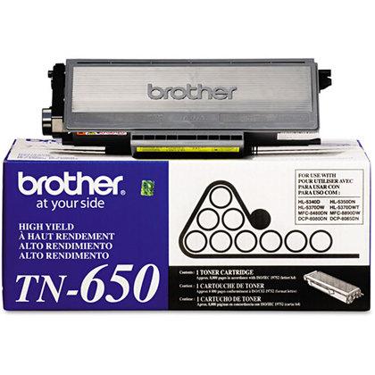 Brother TN-650BK OEM Black Toner Cartridge High Yield