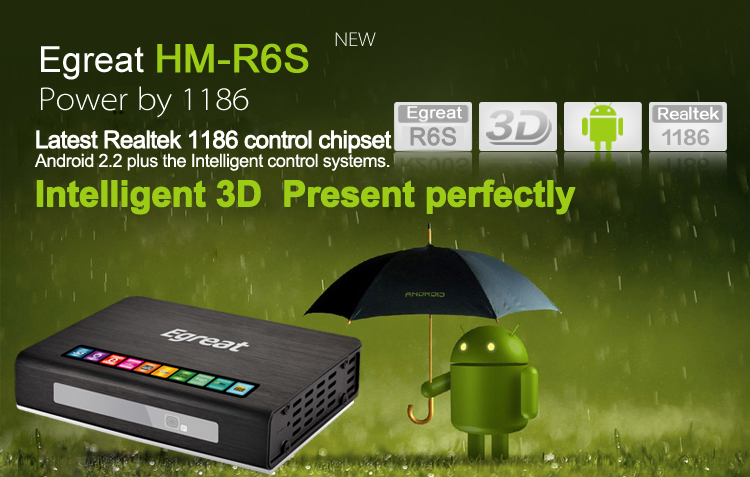 HM-R6S PRO Network 3D 1080P HD Media Player w/ USB3.0 /YPBPR / SD / HDMI1.4 / SPDIF / AV/LED panel display
