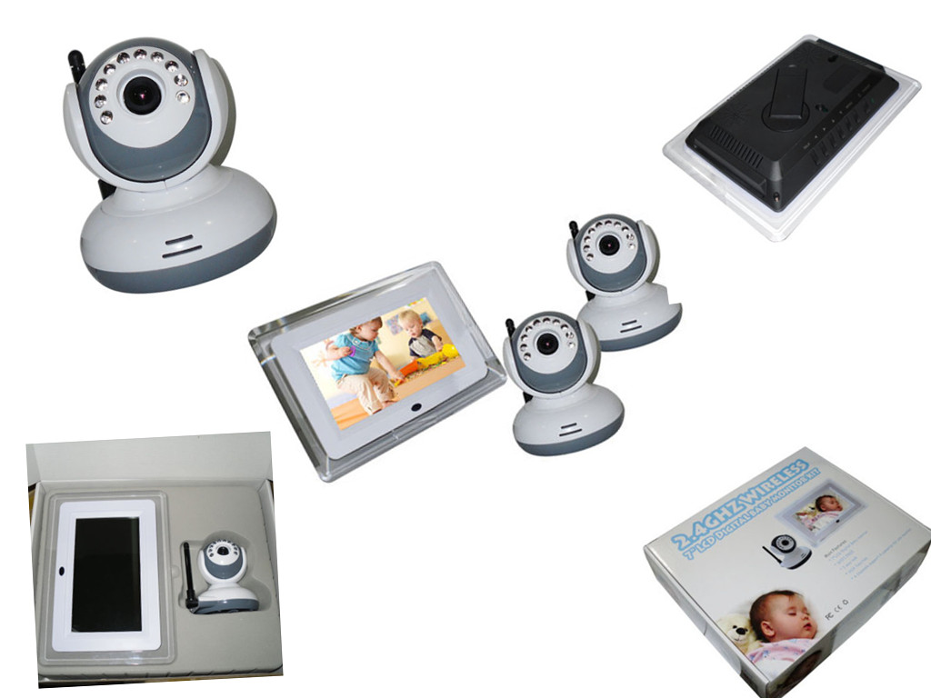 2 4ghz wireless 7 lcd digital baby monitor with two surveillance cameras 123inkcartridges canada. Black Bedroom Furniture Sets. Home Design Ideas