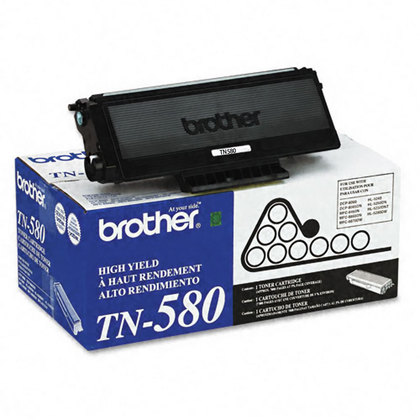 Brother TN-580BK OEM Black Toner Cartridge High Yield