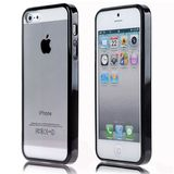 TPU Bumper Frame Clear Transparent Plastic Combo Protective Case for iPhone 5, Black