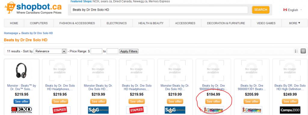 123inkcartridges shopbot price match