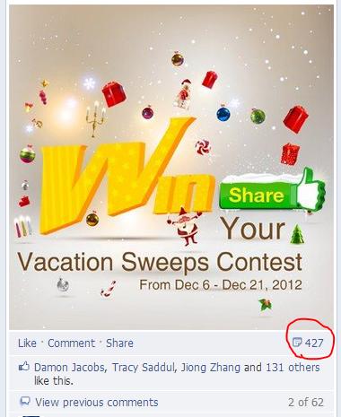 facebook vacation contest