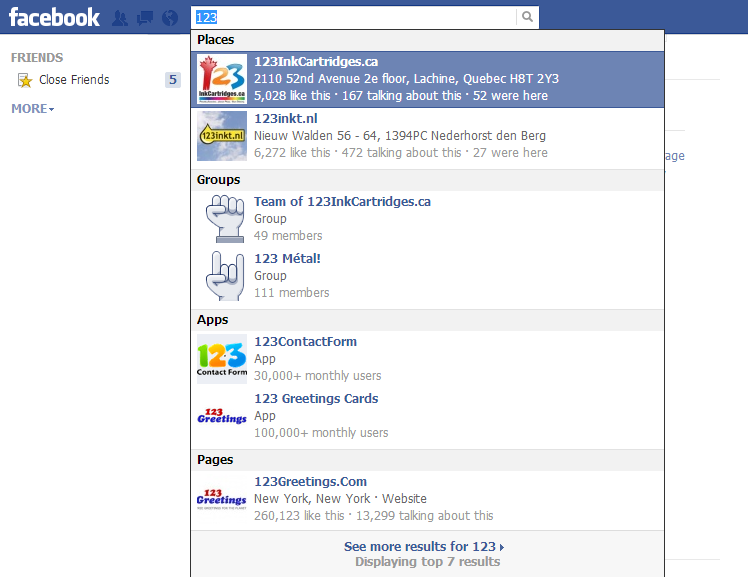 how to search 123inkcartridges facebook