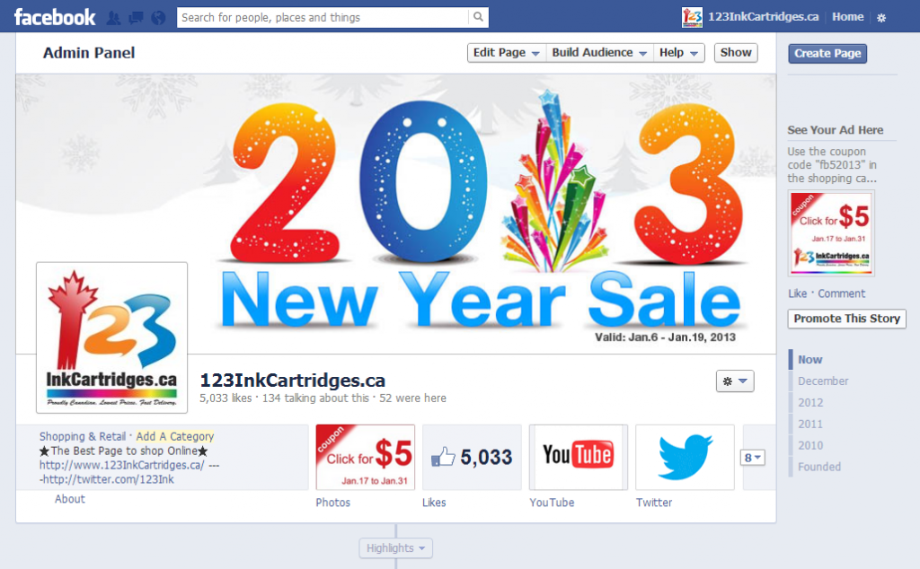 how to use 123inkcartridges facebook