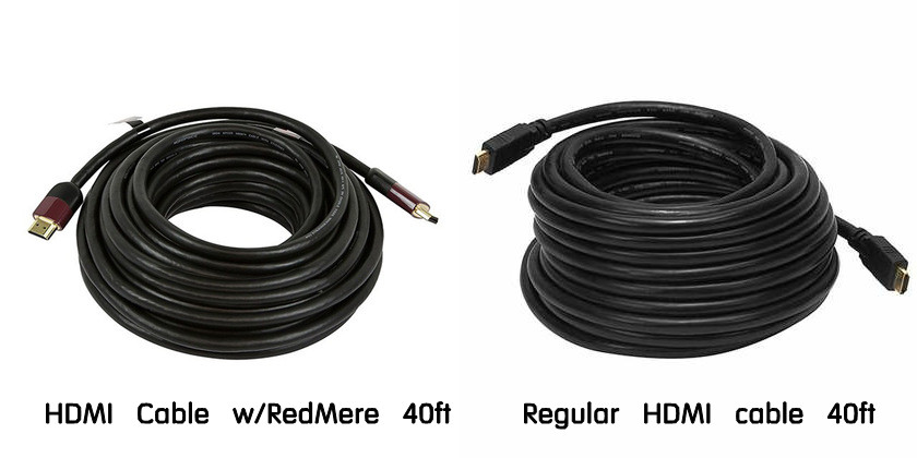 ultra slim high performance HDMI Cable with RedMere VS.Regular HDMI cable 40 ft