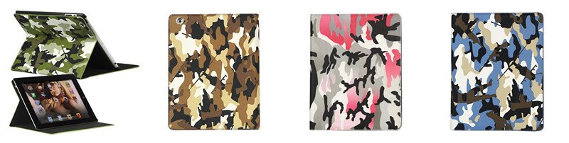 Camouflage Magnetic Leather Smart Cover Stand for iPad 3 & 4