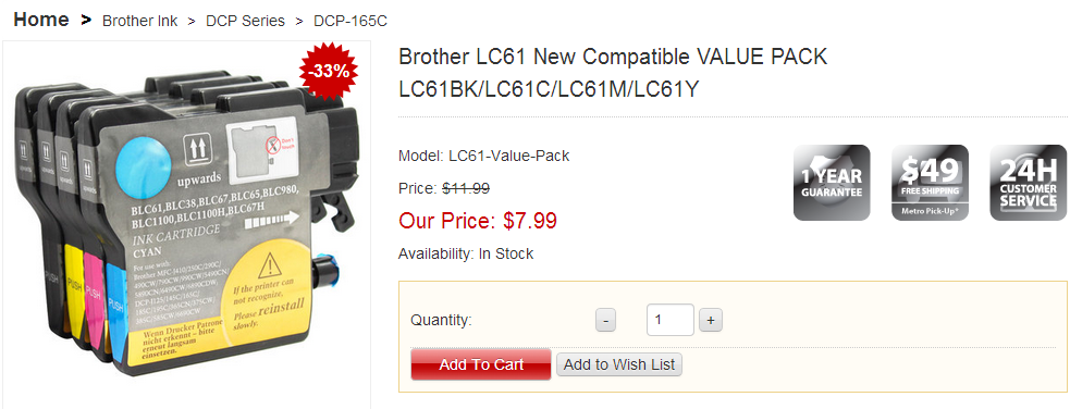 brother lc61 ink cartridges canada