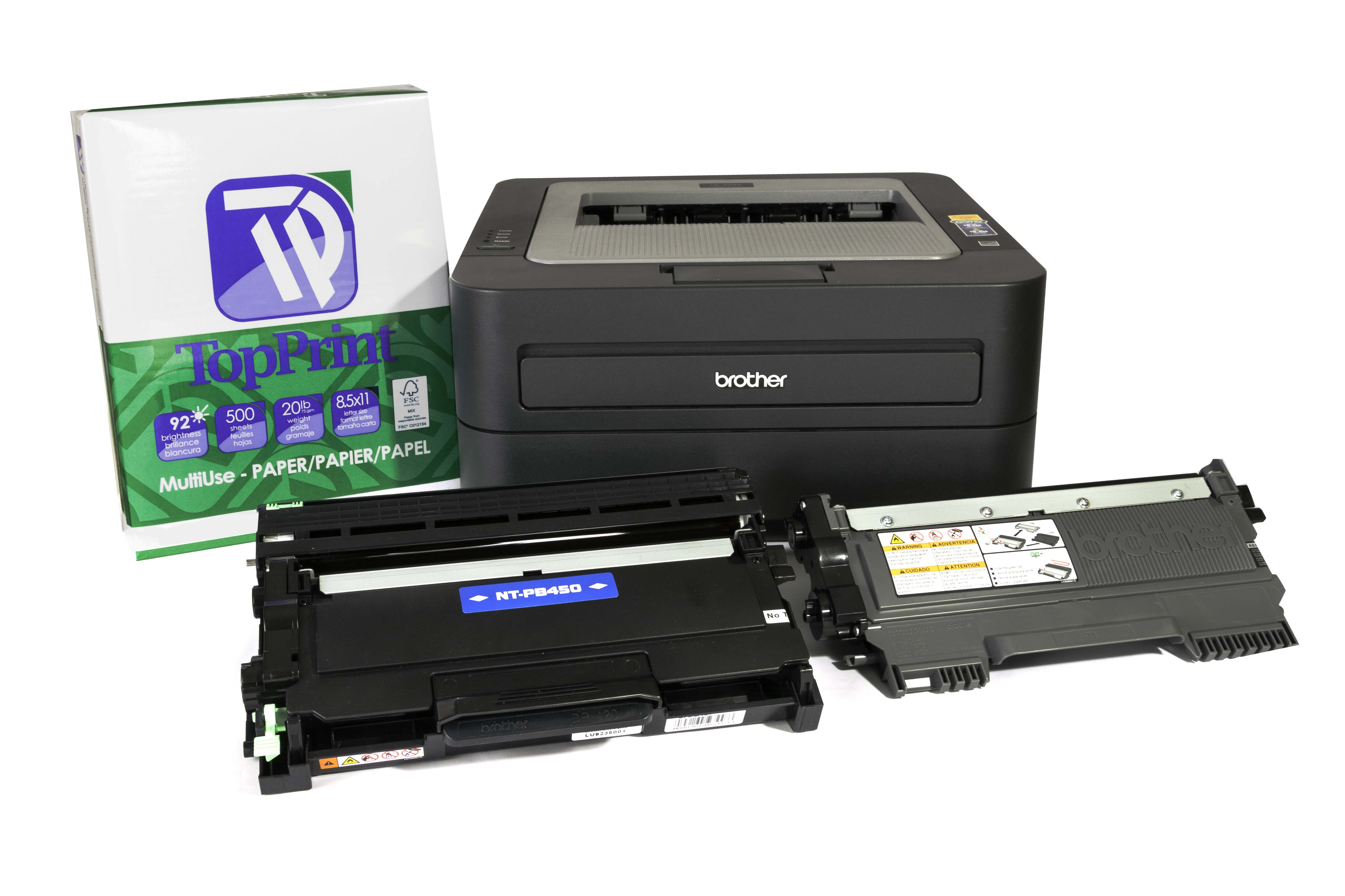 Brother HL-2240 printer, TN-450 compatible toner , TN-420 OEM toner, DR-420 drum unit, TopPrint copy paper