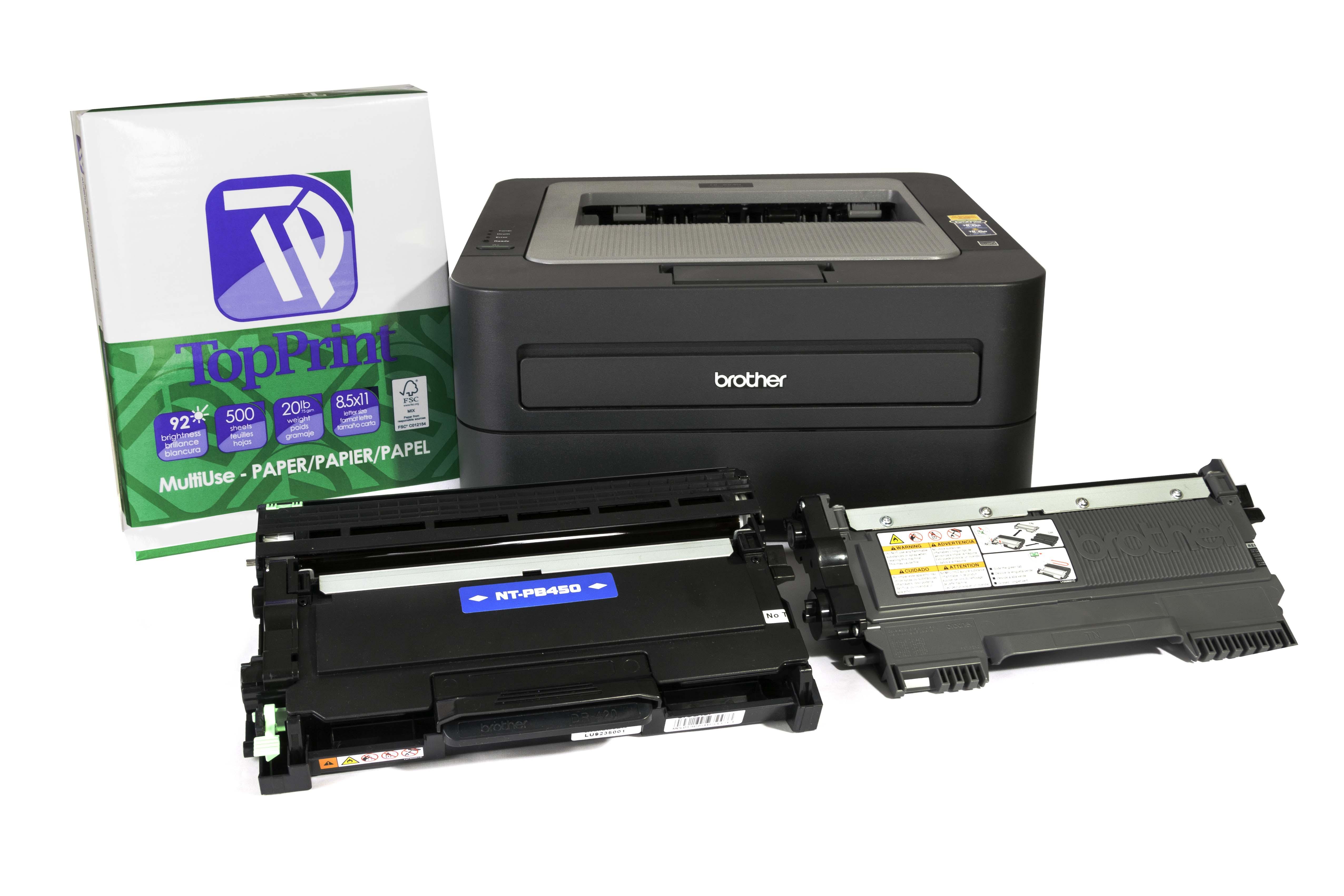 Brother HL-2240 printer, TN-450 compatible toner , TN-420 OEM toner, DR-420 drum unit, TopPrint copy paper