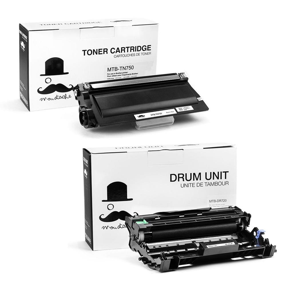 Moustache Brother TN-750 & DR-720 Compatible Toner Cartridge & Drum Unit Combo