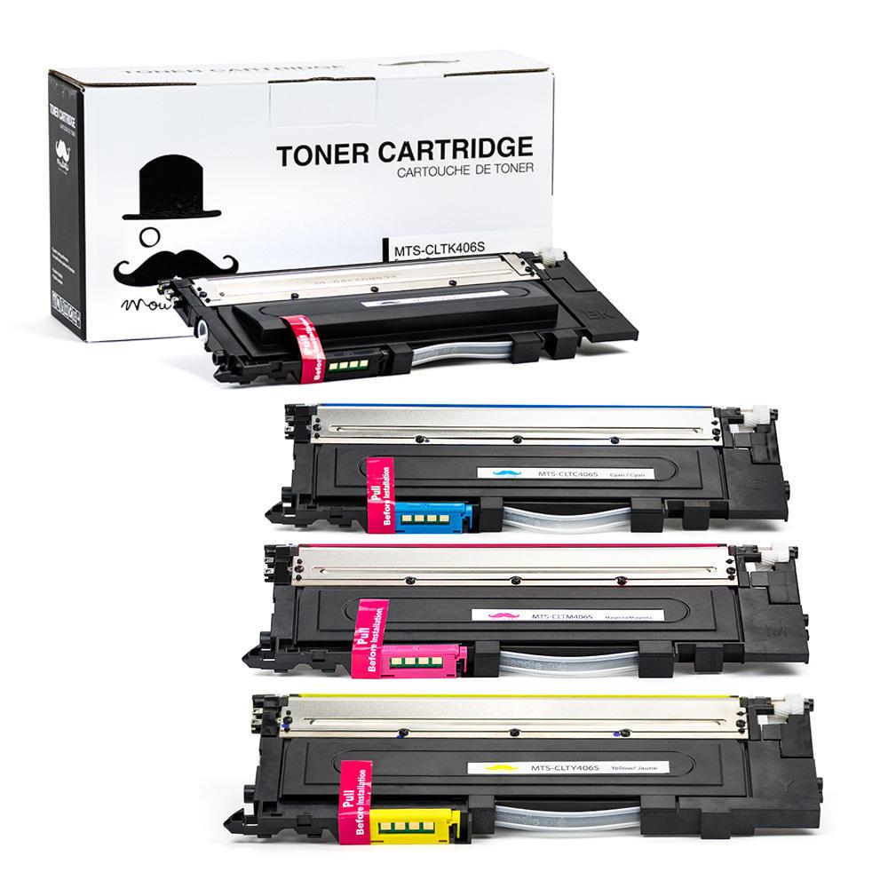 Moustache Samsung CLT-406S Compatible Toner Cartridges Combo Set (CLT-K406S/CLT-C406S/CLT-M406S/CLT-Y406S)