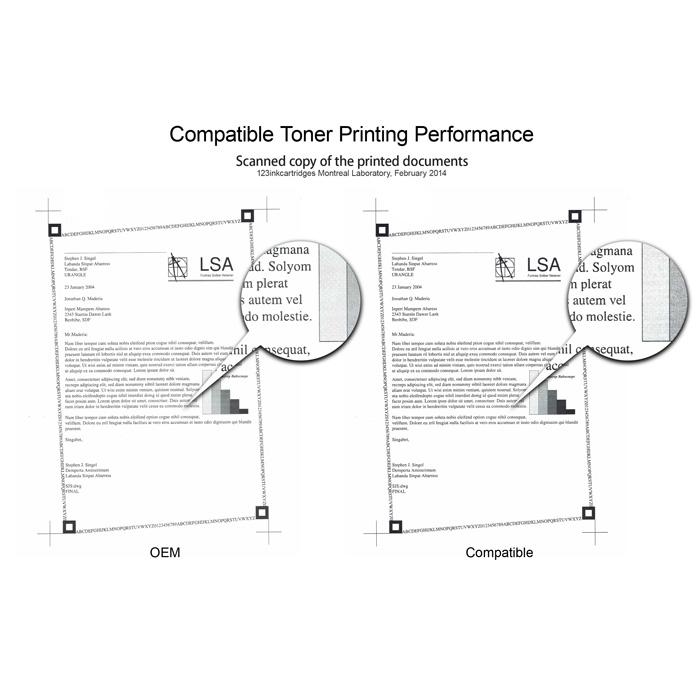 Original and compatible toner printing performance