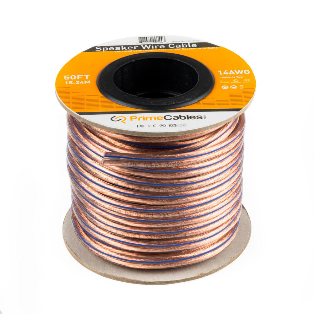 PrimeCables Speaker Wire Enhanced Loud Oxygen-Free 14AWG Copper Cable