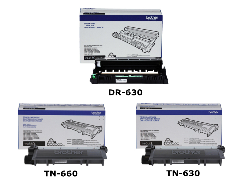 Brother DR-630 Original Drum Unit & TN-660, TN-630 OEM Toner Cartridges