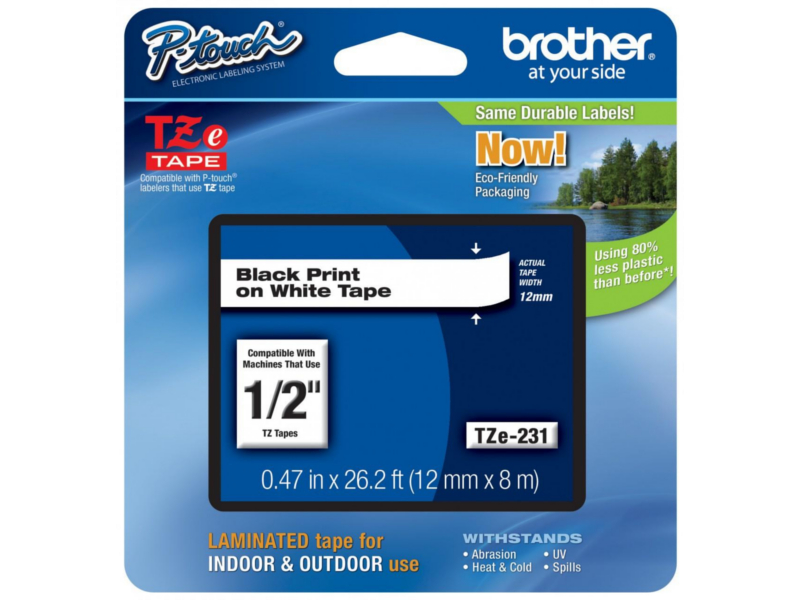 Brother TZe-231 Original 12mm(0.47'') Black on White Label Tape