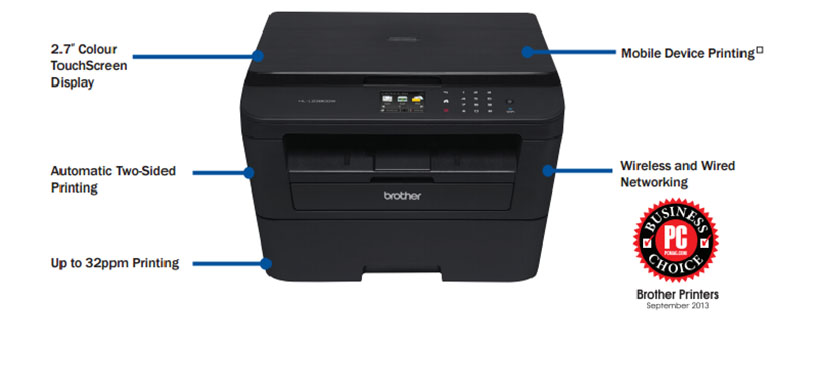 Brother® HL-L2380DW 3-in-1 Laser Printer with Wireless Networking and Duplex
