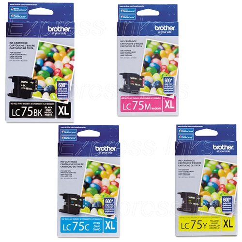 Brother LC75 BK C M Y Original Ink Cartridge high yield series