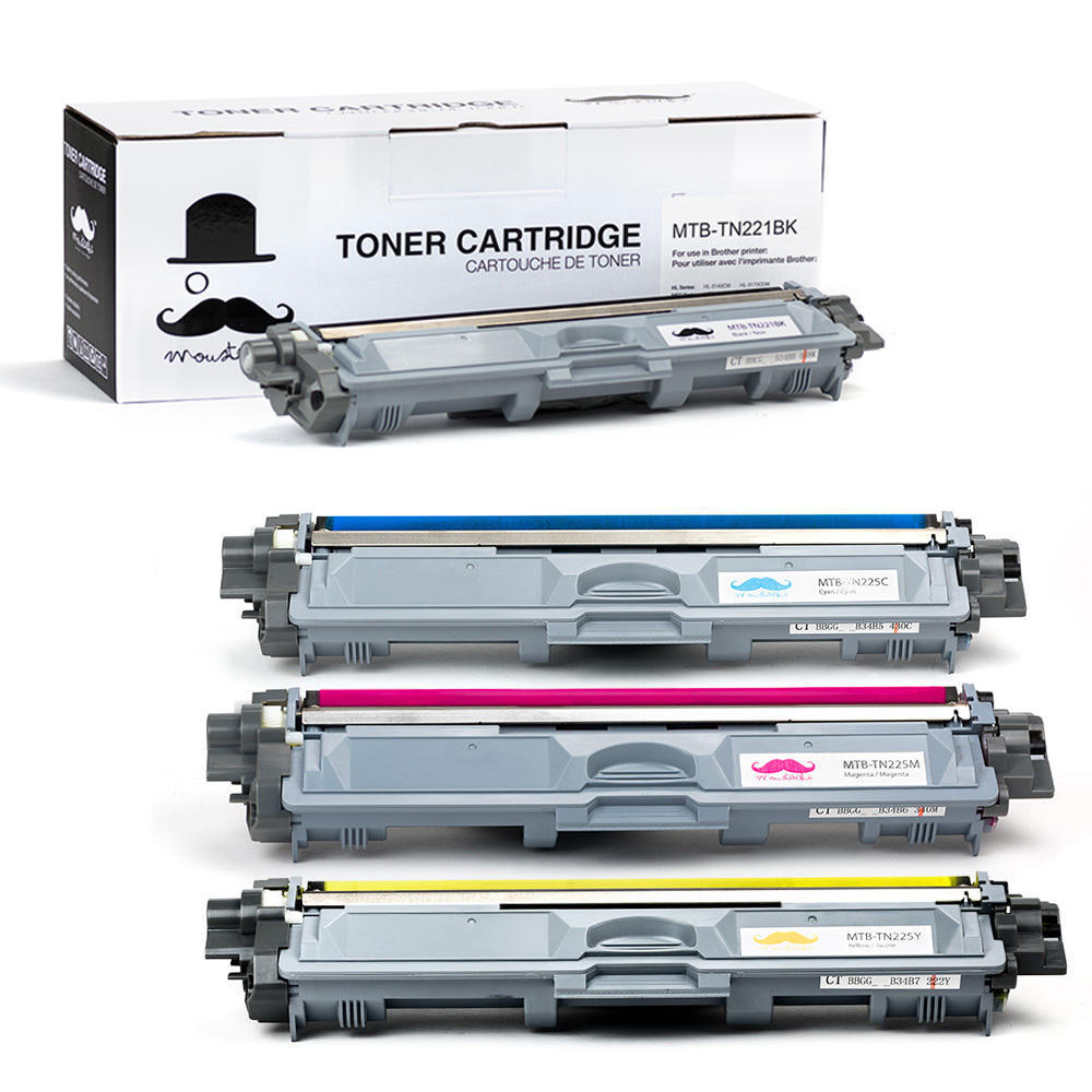 Brother TN-221-TN-225 New Compatible Toner Cartridge Combo Set - Moustache®