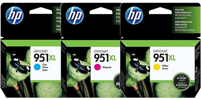 HP 951XL Cyan/Magenta/Yellow  Ink Cartridge