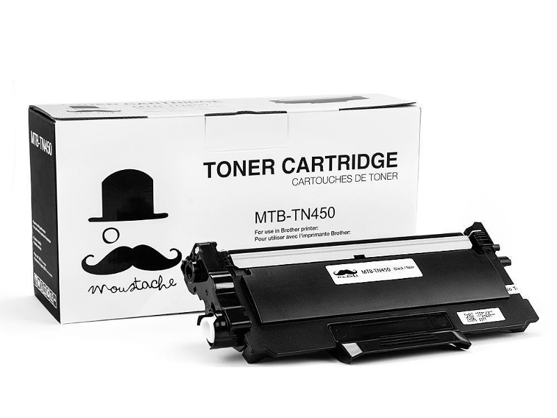 TN-450 New Compatible Black Toner Cartridge - Moustache
