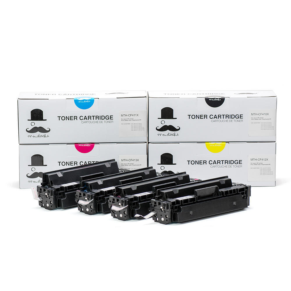 HP 410X New Compatible BKCMY Toner Cartridge Combo Set - Moustache®