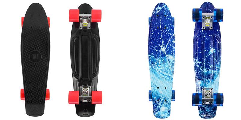 PHAT®-Retro-22''-Cruiser-Skateboard-Complete-Deck-Mini-Plastic-Skate-Board-Without-Light