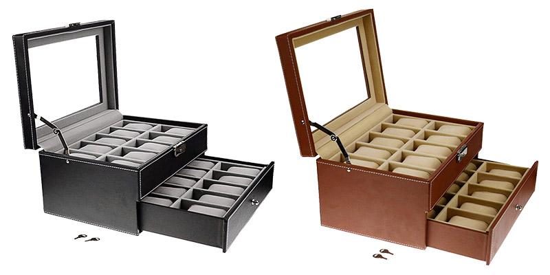 SortWise®-2-Tiers-Lockable-Watch-Leather-Box-Jewelry-Storage-Organize