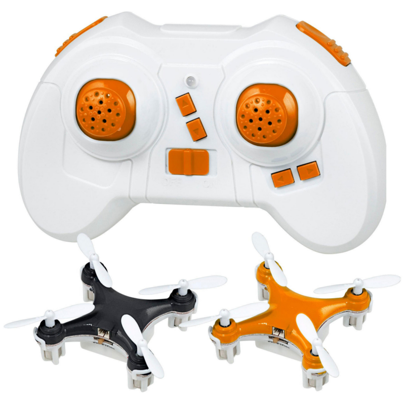 Teeny Drones™ Black & Orange Drone Fly1 Charge1 Pack (2 Drones and 1 Remote)