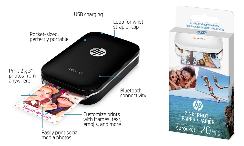 HP X7N08A Sprocket Portable Photo Printer & The Matching Photo Paper
