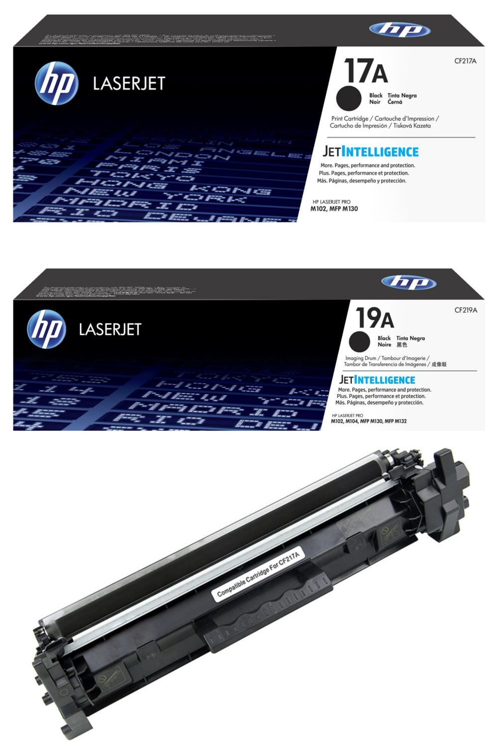 HP 17A CF217A Original Black Toner Cartridge & HP 19A CF219A Original Black LaserJet Imaging Drum & Compatible HP 17A CF217A Black Toner Cartridge