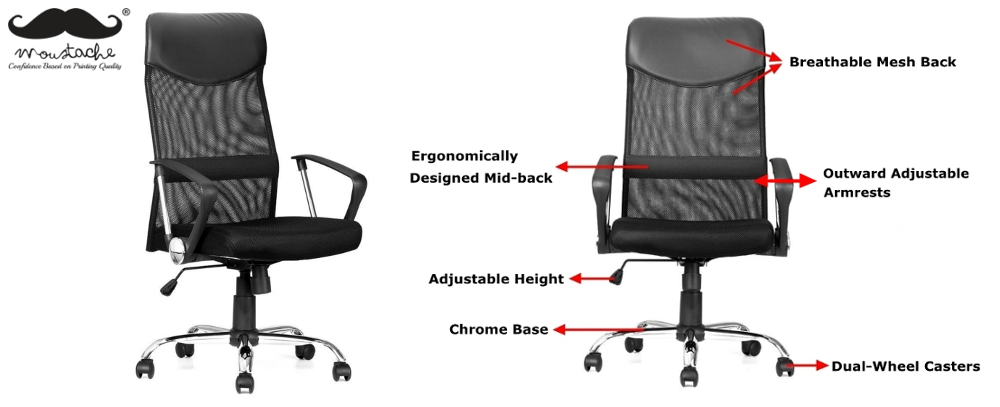 Moustache® Ergonomic Adjustable High-Back Mesh Office Chair