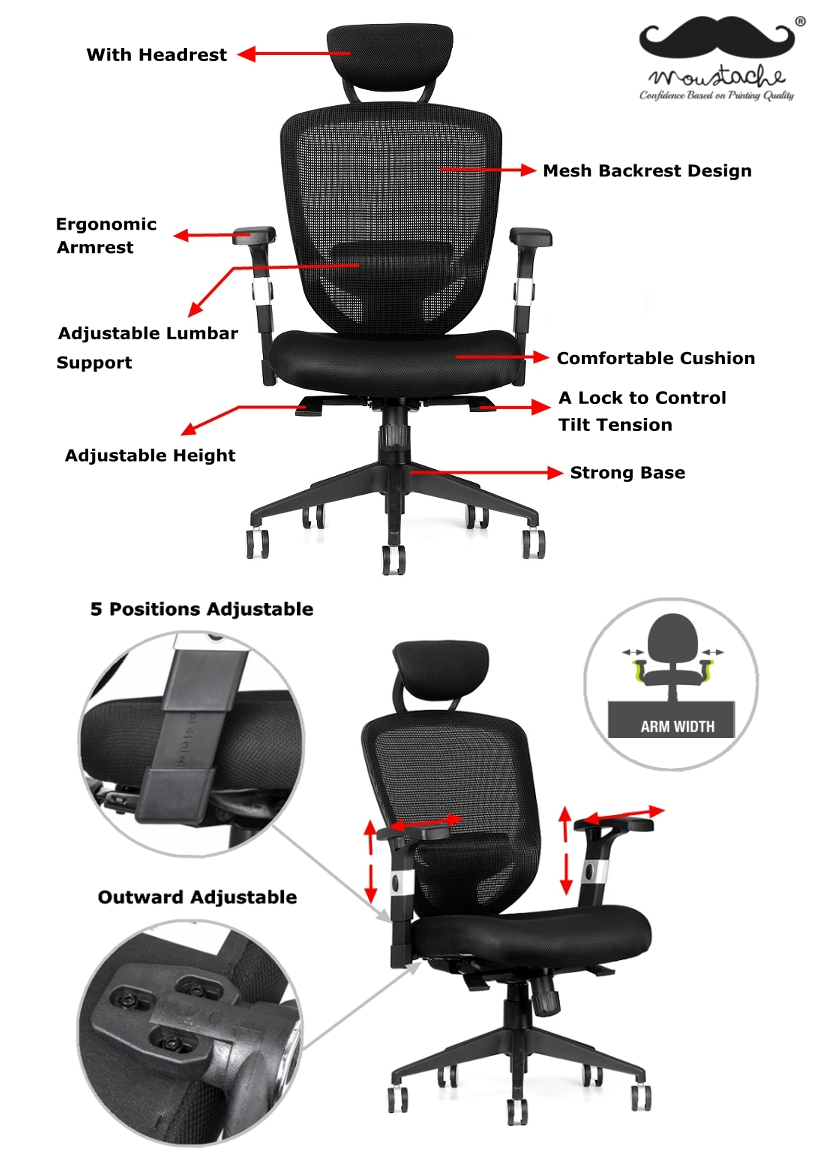 Moustache® Ergonomic Adjustable Mesh Office Chair