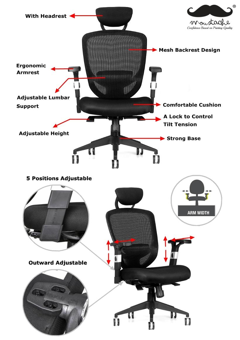 Moustache® Ergonomic Adjustable Mesh Office Chair