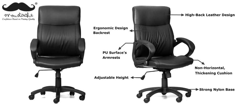 Moustache® High-Back Bonded-Leather Office Chair with Armrest